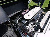 Miura engine bay, showing the transverse mounting of the engine ahead of the rear axle.