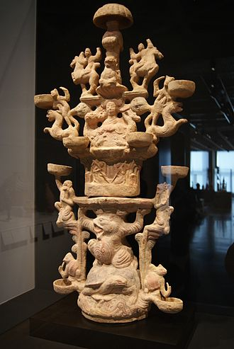 Chinese mythology - Lamp Representing the Realm of the Queen Mother of the West (1st–2nd century CE)