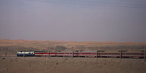 Lanzhou–Xinjiang Railway - The railway runs through the deserts of western China.