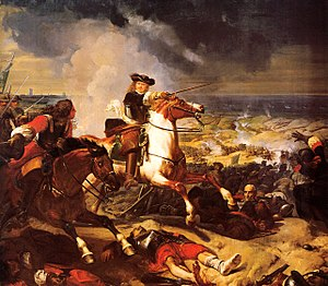 Battle of the Dunes (1658) - La Bataille des Dunes by Charles-Philippe Larivière. Galerie des Batailles, Palace of Versailles. In the foreground is the French commander Turenne on a Skewbald horse.