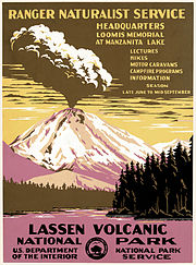 1938 poster for Lassen Volcanic National Park