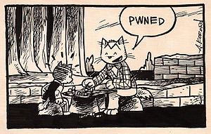 Pwn - An example of the term in a Laugh-Out-Loud Cats comic strip