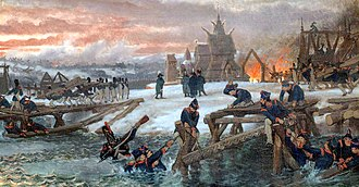 Military engineering - French sappers during the Battle of Berezina in 1812