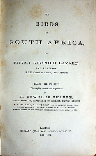 """Edgar Leopold Layard - Title page of """"Birds of South Africa"""" 2nd Ed."""