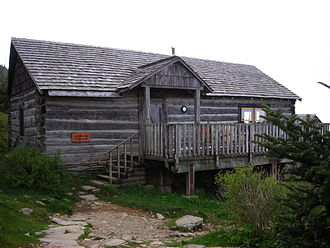 "The Boulevard Trail - The office of the LeConte Lodge mountaintop ""resort"" near the summit of Mount Le Conte is the hub of activities both at the lodge and on the mountain."