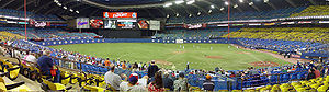 Sports in Montreal - A Montreal Expos game at Olympic Stadium during their final season.