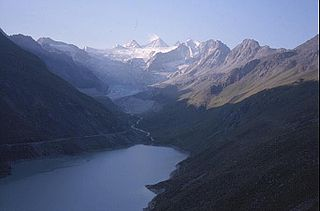 Lac de Moiry reservoir in the municipality of Grimentz, Switzerland