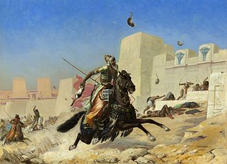 Battle of Pelusium (525 BC) - According to Polyaenus, the Persian soldiers allegedly used cats - among other sacred Egyptian animals - against the Pharaoh's army. Paul-Marie Lenoir's paintwork, 1872.