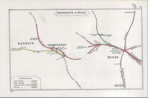 Rugby railway station - A 1909 Railway Clearing House Junction Diagram showing (right) railways around Rugby