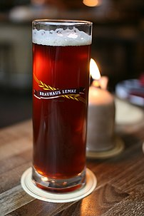 Dark Brauhaus Lemke beer in glass.