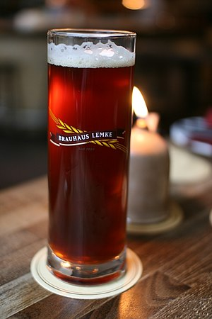 English: Dark Brauhaus Lemke beer in glass. ??...