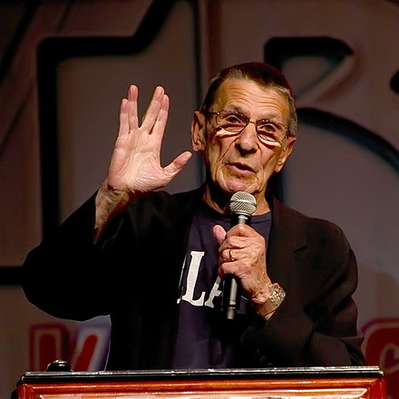 Nimoy giving the Vulcan salute in 2011 Leonard Nimoy, 2011, ST Con-2 A.jpg