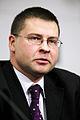 Lettlands statsminister Valdis Dombrovskis under en presskonferens med nordiska och baltiska statsministrar vid Nordiska Radets session i Stockholm. 2009-10-26. Foto- Magnus Froderberg-norden.org.jpg