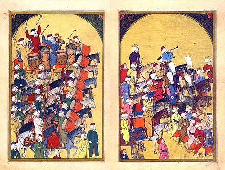 Depiction of the Ottoman military band in 1720. The notion of a military band originates from the Ottomans. Levni mehter.jpg