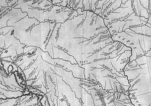 Raccoon River - Excerpt of the Racoon River on the Map of Lewis and Clark's Track, Across the Western Portion of North America, 1814