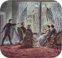 Image of Lincoln being shot by Booth while sitting in a theater booth.