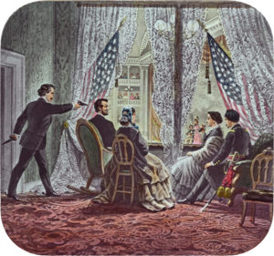 Clara Harris - Shown in the presidential booth of Ford's Theatre, from left to right, are assassin John Wilkes Booth, Abraham Lincoln, Mary Todd Lincoln, Clara Harris, and Henry Rathbone