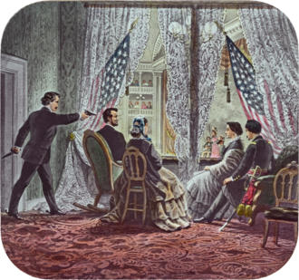 1860s - Shown in the presidential booth of Ford's Theatre, from left to right, are assassin John Wilkes Booth, Abraham Lincoln, Mary Todd Lincoln, Clara Harris, and Henry Rathbone