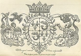 Jean de Beaugrand - A lineographic representation of the arms of the Dauphin of France. The arms were created by Jean de Beaugrand in 1604.