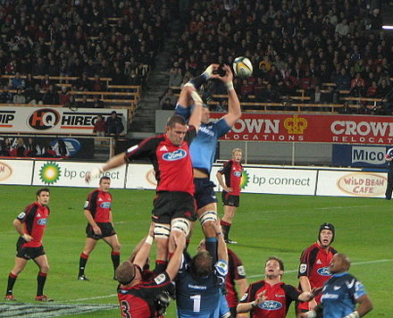 The Christchurch based Crusaders rugby team playing the Bulls from South Africa in the Super Rugby competition. Lineout.JPG