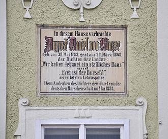 August Daniel von Binzer - Memorial plaque in Linz.