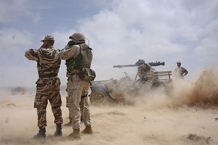 US Marines and Moroccan soldiers during exercise African Lion in Tan tan. Lion120051.jpg