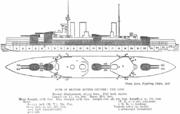 Drawing of three-stacked battlecruiser