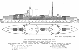 Left elevation and deck plan of three-stack battlecruiser