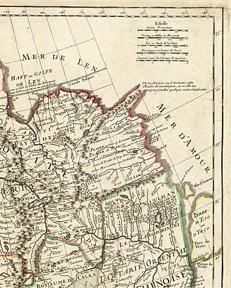Heihe - Aigou (Aigun) shown as one of the few towns on the Amur, and one of the most important places in the region, on a 1706 French map