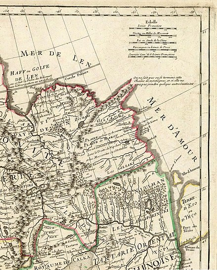Aigou (Aigun) shown as one of the few towns on the Amur, and one of the most important places in the region, on a 1706 French map Lisle - Carte de Tartarie (Detail).jpg