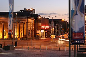 Hope Street, Liverpool - Former Everyman Theatre at dusk from the steps of the Roman Catholic Cathedral of Christ the King, showing Hope Street in the background.