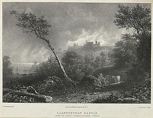 Llanstephan Castle, from the north, Carmarthanshire. Sunset