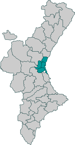 Huerta de Valencia on map of Valencian Community