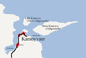 Kamøyvær - Location of village, showing how its position is sheltered by two islands