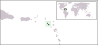 A map showing the location of Saint Kitts and Nevis