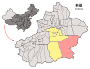 Location of Ruoqiang within Xinjiang (China).png