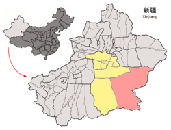 Ruoqiang County (red) within Bayingolin Prefecture (yellow) and Xinjiang