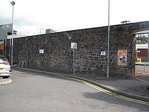 Dumfries, Lochmaben and Lockerbie Railway - The remains of the Dumfries, Lochmaben and Lockerbie Railway's trainshed at Lockerbie