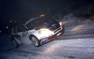 Freddy Loix - Loix at 2011 Rallye Monte Carlo with Škoda Fabia S2000.