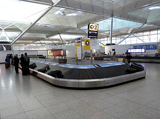 London Stansted Airport - The Arrivals hall in the Terminal building, which was extended in 2008.