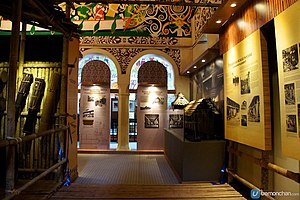 Sarawak State Museum - The longhouse gallery inside the museum.