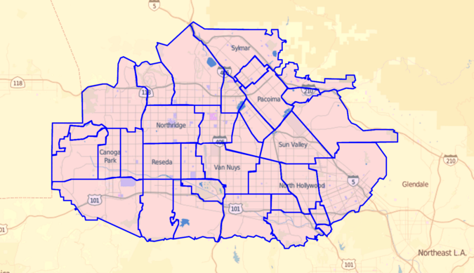 Communities of the Valley as delineated by the Los Angeles Times Los Angeles Times map of neighborhoods in San Fernando Valley, California.png
