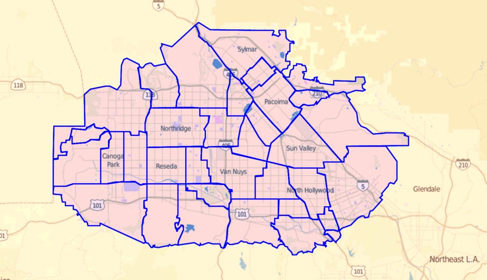 Los Angeles Times map of neighborhoods in San Fernando Valley, California