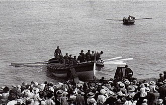 Alf (barque) - The Cromer Lifeboat Louisa Heartwell, ON 495, being launched from Cromer Beach