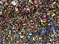 Love locks at the Pont Des Arts, Paris May 2015.jpg