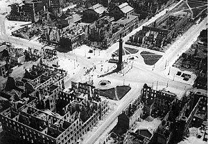 Bombing of Darmstadt in World War II - The Luisenplace in Darmstadt (Citycenter) after the bombing raid