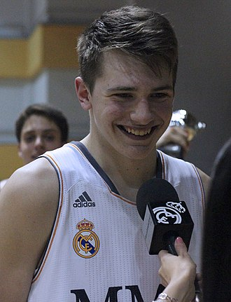 Luka Dončić - Dončić is interviewed after a youth game with Real Madrid in May 2014.