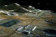 A mass driver for lunar launch (artist's conception)