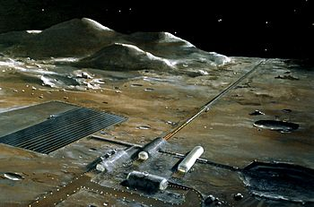 A lunar base with a mass driver (the long structure that goes toward the horizon.) NASA conceptual illustration.