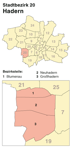 Hadern - Borough 20 Hadern, Location in Munich